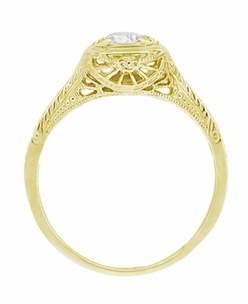 Filigree Scrolls Engraved White Sapphire Engagement Ring in 14 Karat Yellow Gold - Click to enlarge