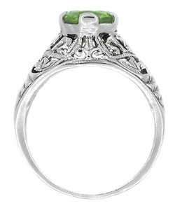 Edwardian Filigree Peridot Ring in Sterling Silver - Item SSR7 - Image 1