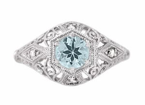 Edwardian Aquamarine and Diamonds Scroll Dome Filigree Engagement Ring in Platinum - Click to enlarge