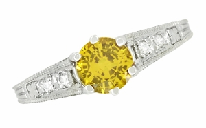 Yellow Sapphire and Diamond Filigree Engagement Ring in 14 Karat White Gold - Item R158YES - Image 3