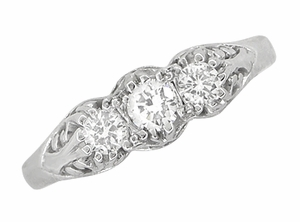 "Art Deco Filigree White Sapphire ""Three Stone"" Ring in 14 Karat White Gold - Item R890WS - Image 3"