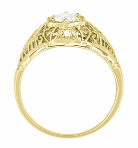 Scroll Dome Filigree Edwardian Diamond Engagement Ring in 14 Karat Yellow Gold - Item R139YD - Image 3