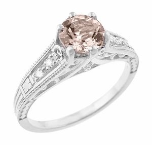 Art Deco Antique Style Morganite and Diamond Filigree Engagement Ring in 14 Karat White Gold - Item R158WM - Image 1