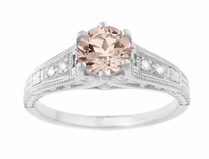 Art Deco Antique Style Morganite and Diamond Filigree Engagement Ring in 14 Karat White Gold - Item R158WM - Image 4