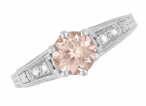 Art Deco Antique Style Morganite and Diamond Filigree Engagement Ring in 14 Karat White Gold - Click to enlarge
