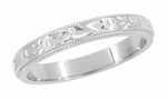 Art Deco Flowers and Leaves Millgrain Edge Engraved Wedding Band in 14 Karat White Gold
