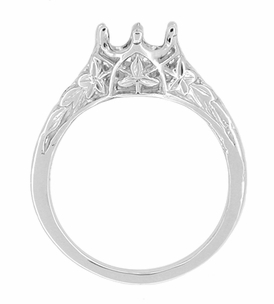 Art Deco 3/4 Carat Crown of Leaves Filigree Engagement Ring Setting in 18 Karat White Gold - Click to enlarge