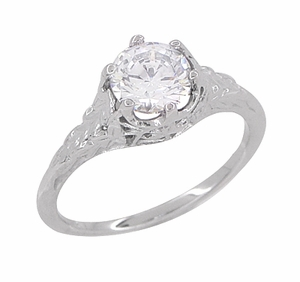 Art Deco 3/4 Carat Crown of Leaves Filigree Engagement Ring Setting in 18 Karat White Gold - Item R299 - Image 4