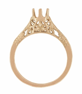 Art Deco 1/2 Carat Crown of Leaves Filigree Engagement Ring Setting in 14 Karat Rose Gold - Click to enlarge