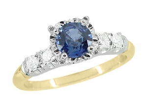 Mid Century Cornflower Blue Sapphire Engagement Ring in 14 Karat White and Yellow Gold - Item R728 - Image 1