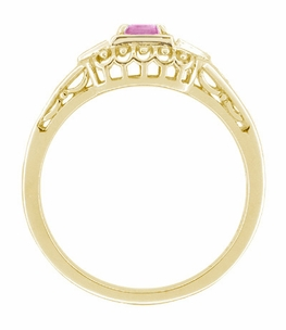 Art Deco Pink Sapphire and Diamond Engagement Ring in 14 Karat Yellow Gold - Item R228YPS - Image 1