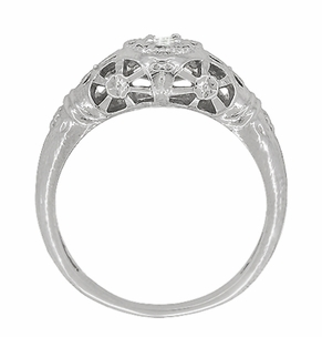 Platinum Art Deco Filigree Diamond Engagement Ring - Item R428P - Image 4