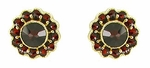 Bohemian Garnet Flower Blossom Stud Earrings in 14 Karat Gold and Sterling Silver Vermeil