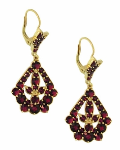 Victorian Bohemian Garnet Leaf Drop Earrings in 14 Karat Yellow Gold and Sterling Silver Vermeil - Item E139S - Image 1