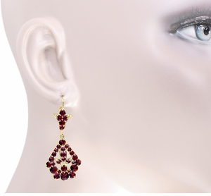 Victorian Bohemian Garnet Leaf Drop Earrings in 14 Karat Yellow Gold and Sterling Silver Vermeil - Item E139S - Image 2