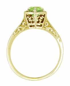 Art Deco Peridot Filigree Engagement Ring in 14 Karat Yellow Gold - Click to enlarge