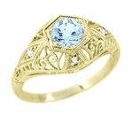 Edwardian Aquamarine and Diamonds Scroll Dome Filigree Engagement Ring in 14 Karat Yellow Gold