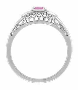 Pink Sapphire and Diamonds Filigree Art Deco Engagement Ring in Platinum - Click to enlarge