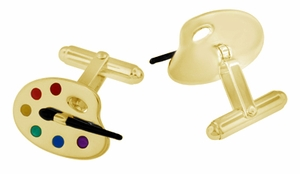 Enameled Painters Paint Palette and Brush Cufflinks in Sterling Silver with Yellow Gold Vermeil - Item SCL244Y - Image 1