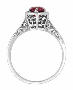 Art Deco Antique Style Filigree Engraved Rhodolite Garnet Engagement Ring in 14 Karat White Gold - Click to enlarge