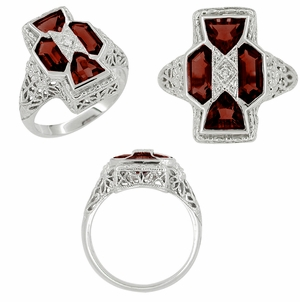 Art Deco Filigree Happy Family 4 Stone Almandine Garnet and Diamond Filigree Ring in 14 Karat White Gold - Item R1150G - Image 1