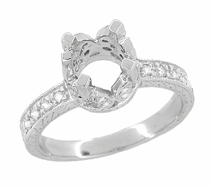 Art Deco 1 Carat Diamond Engraved Filigree Loving Butterflies Engagement Ring Setting in Platinum - Item R178P - Image 1