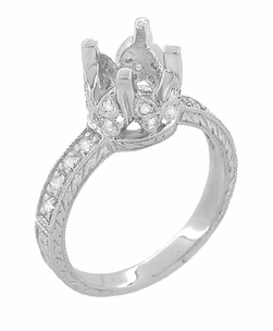 Art Deco 1 Carat Diamond Engraved Filigree Loving Butterflies Engagement Ring Setting in Platinum - Item R178P - Image 2