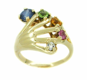 Vintage Rainbow Hand Ring Set with Blue and Pink Sapphires, Peridot, Citrine, and Diamond in 14 Karat Gold - Click to enlarge