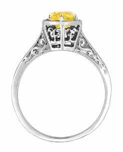 Art Deco Filigree Engraved Yellow Sapphire Engagement Ring in 14 Karat White Gold - Click to enlarge