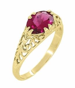 Edwardian Oval Pink Tourmaline Filigree Engagement Ring in 14 Karat Yellow Gold - October Birthstone - Click to enlarge