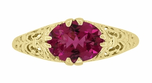 Edwardian Oval Pink Tourmaline Filigree Engagement Ring in 14 Karat Yellow Gold - October Birthstone - Item R799YPT - Image 3