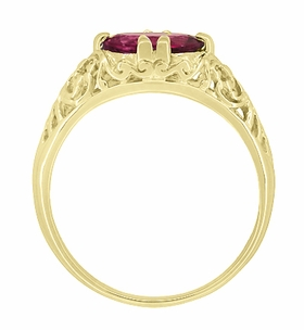 Edwardian Oval Pink Tourmaline Filigree Engagement Ring in 14 Karat Yellow Gold - October Birthstone - Item R799YPT - Image 4
