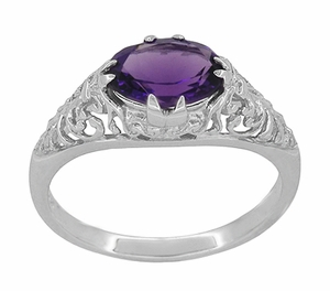 Edwardian Oval Amethyst Filigree Ring in 14 Karat White Gold - Item R799WAM - Image 2