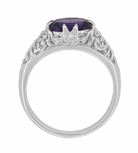Edwardian Oval Amethyst Filigree Ring in 14 Karat White Gold - Item R799WAM - Image 4