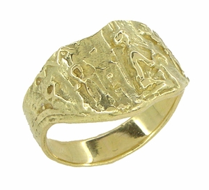 Bas-Relief Greek Scene Triangle Cigar Band in 18 Karat Yellow Gold - Click to enlarge