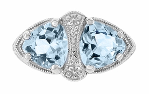 Art Deco Loving Duo Filigree Blue Topaz 2 Stone Ring in 14 Karat White Gold - Item R1129 - Image 1