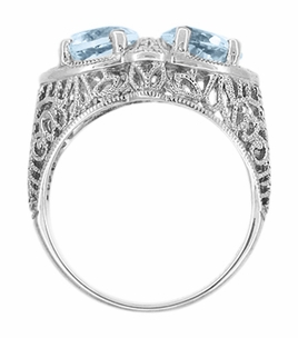 Art Deco Loving Duo Filigree Blue Topaz 2 Stone Ring in 14 Karat White Gold - Item R1129 - Image 2