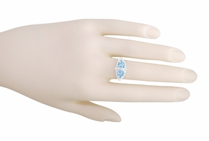 Art Deco Loving Duo Filigree Blue Topaz 2 Stone Ring in 14 Karat White Gold - Item R1129 - Image 3