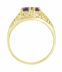 Amethyst Filigree Edwardian Engagement Ring in 14 Karat Yellow Gold - Click to enlarge