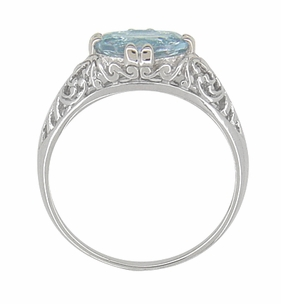 Edwardian Oval Blue Topaz Filigree Engagement Ring in Sterling Silver - Item R1125BT - Image 2