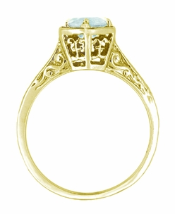 Art Deco Aquamarine Engraved Scrolls Filigree Engagement Ring in 14 Karat Yellow Gold - Click to enlarge