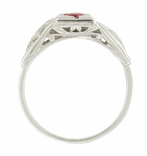 Art Deco Windsails Filigree Ruby Ring in 14K White Gold - Item R345 - Image 1