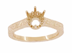 Art Deco 1 Carat Crown Filigree Scrolls Engagement Ring Setting in 14 Karat Rose ( Pink ) Gold - Item R199R1 - Image 2