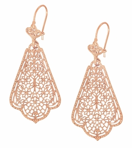 Edwardian Scalloped Leaf Dangling Sterling Silver Filigree Earrings with Rose Gold Vermeil - Item E169R - Image 2
