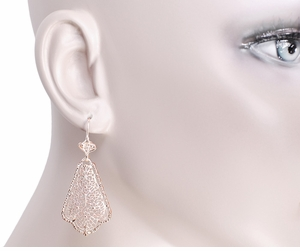 Edwardian Scalloped Leaf Dangling Sterling Silver Filigree Earrings with Rose Gold Vermeil - Item E169R - Image 3