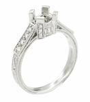 Art Deco Castle 1/3 Carat Diamond Filigree Engagement Ring Semi Mount in 18 Karat White Gold