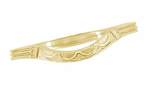 Art Deco Curved Wedding Band in 18 Karat Yellow Gold - Item R717Y - Image 1