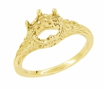 Art Deco 3/4 Carat Crown of Leaves Filigree Engagement Ring Setting in 18 Karat Yellow Gold