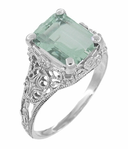 Edwardian Filigree Emerald Cut Prasiolite ( Green Amethyst ) Ring in Sterling Silver - Item SSR618GA - Image 1