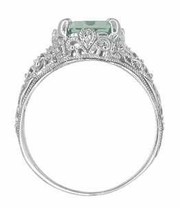 Edwardian Filigree Emerald Cut Prasiolite ( Green Amethyst ) Ring in Sterling Silver - Click to enlarge